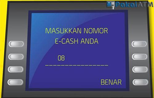 Masukkan nomor Handhone yang terdaftar di Mandiri E Cash