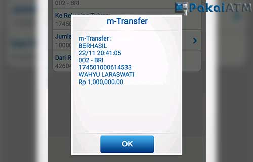 Bukti Transfer BRI Mobile