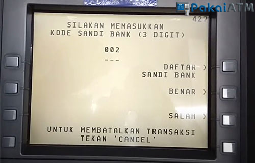 Masukkan kode Bank tujuan