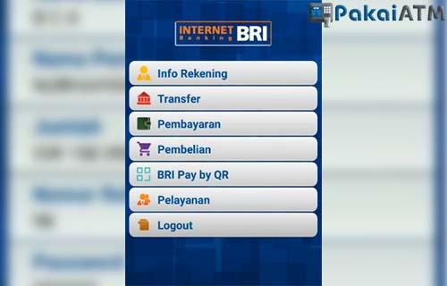 pilih menu transfer pada tampilan utama