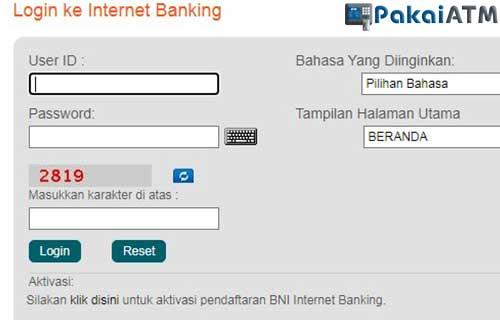 2. Lewat Internet Banking BNI