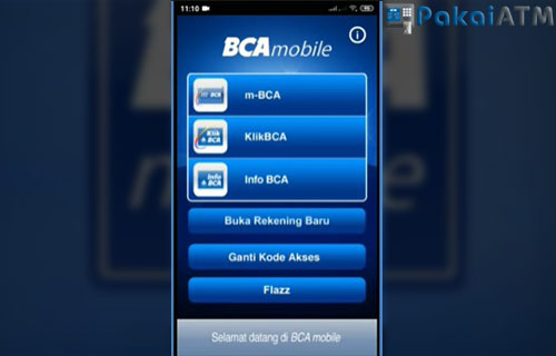 Langkah pertama silahkan buka aplikasi BCA Mobile di HP anda dan pilih menu m BCA.