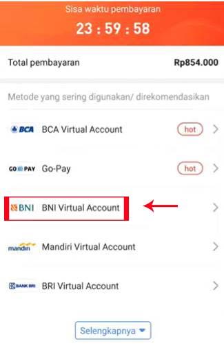 Pilih BNI Virtual Account
