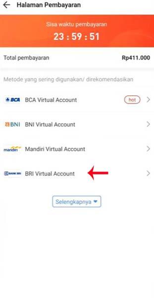 Pilih BRI Virtual Account