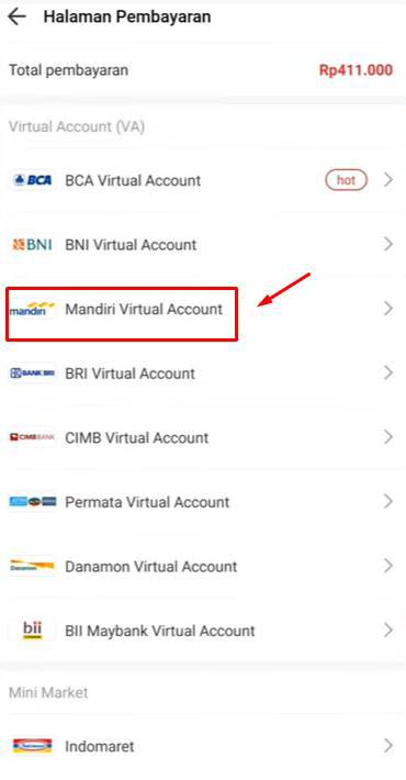 Pilih Mandiri Virtual Account