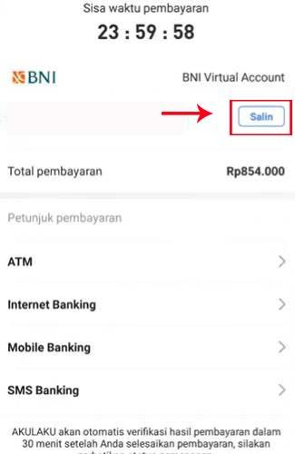 Salin atau Screenshoot Nomor BNI Virtual Account