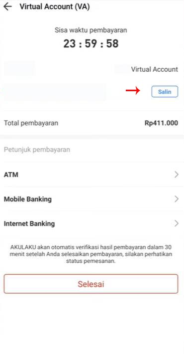 Salin atau Screenshoot Nomor Mandiri Virtual Account