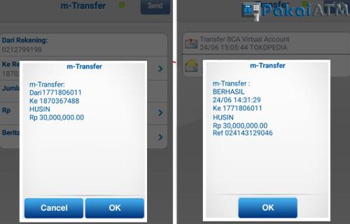 Bukti Transfer BCA di ATM Mobile Klik BCA SMS Banking