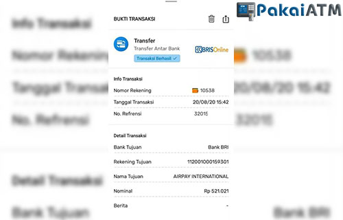 Bukti Transfer BRI Syariah dari Mobile Banking BRIS