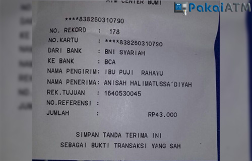 Bukti Transfer dari Mesin ATM BNI Syariah