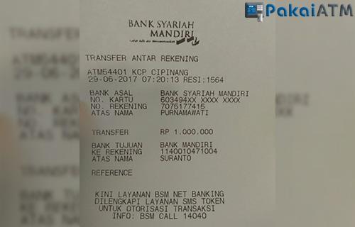 Bukti Transfer dari Mesin ATM