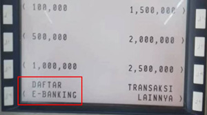 Pilih Menu Daftar E Banking