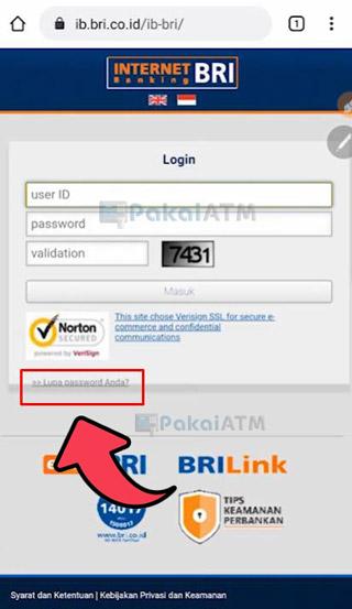 Pilih Lupa Password Anda