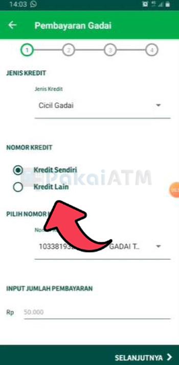 Pilih Nomor Kredit