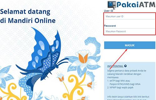 Login ke Situs Web Internet Banking Mandiri
