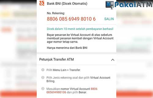 Muncul Nomor Virtual Account BNI