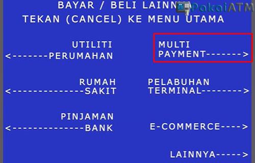 Pilih Menu Multi Payment