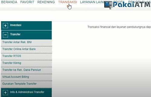 Pilih Menu Transaksi Virtual Account Billing