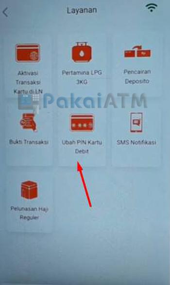 Pilih Ubah PIN Kartu Debit