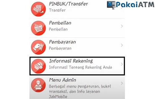 Tap Informasi Rekening