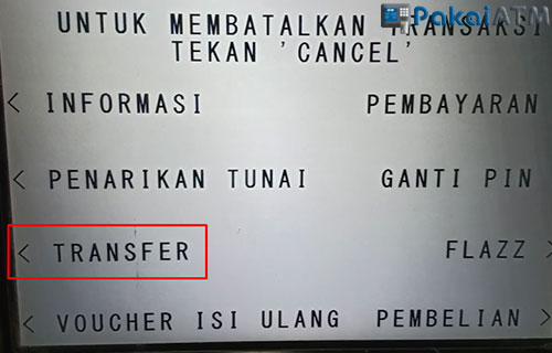 4. Pilih Menu Transfer