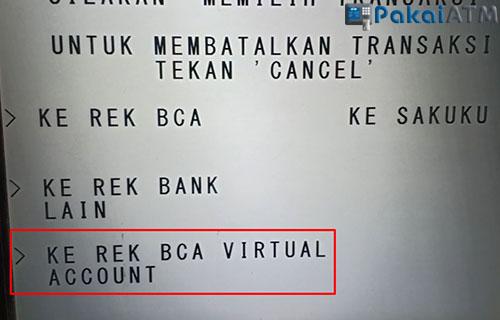 5. Pilih Ke Rekening BCA Virtual Account