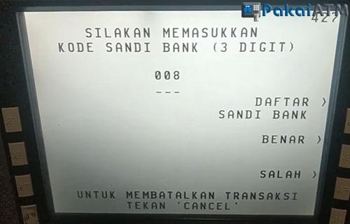 6. Input Kode Bank Mandiri