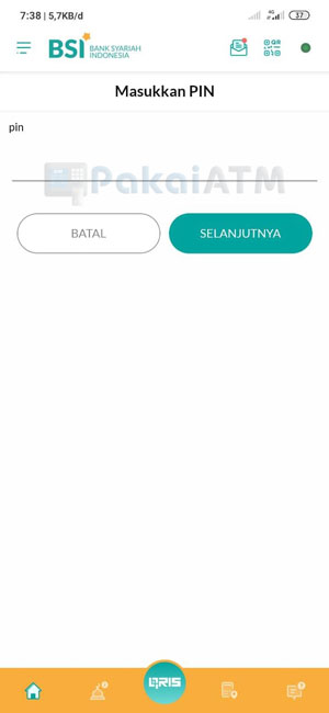 7. Masukkan PIN Transaksi BSI Mobile