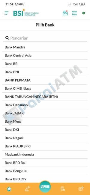 7. Pilih Bank Tujuan