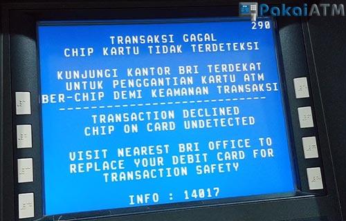 Chip ATM Tidak Terdeteksi