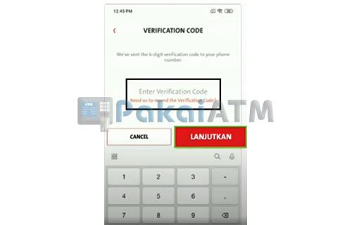 Input Kode Verifikasi
