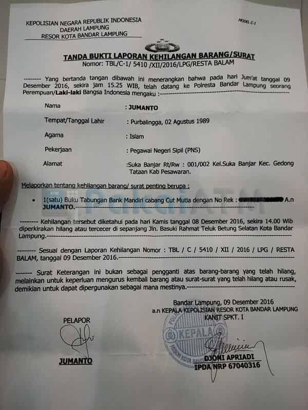 Surat Kehilangan Buku Tabungan dari Kepolisian