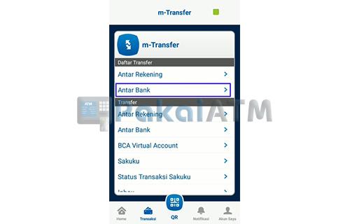 Tap Daftar Transfer Antar Bank