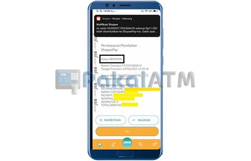 Top Up ShopeePay via BSI Mobile Telah Berhasil