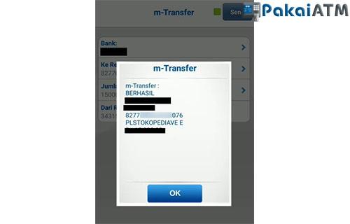 Transfer ke Virtual Account Bank DKI dari BCA Mobile Telah Berhasil