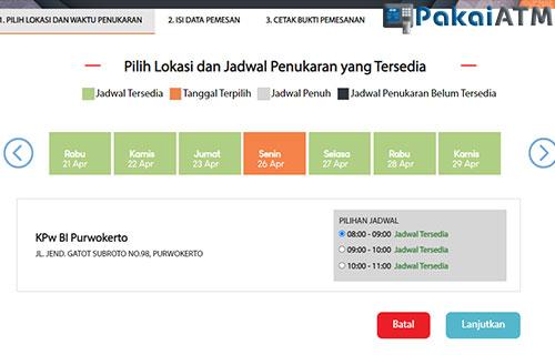 2. pilih lokasi dan jadwal waktu yang tersedia untuk menukarkan uang 75 ribu.