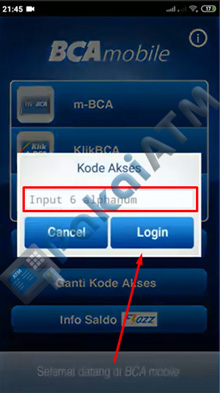 3. Input Kode Akses BCA Mobile