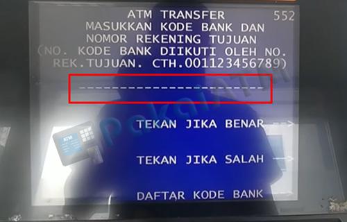 6. Masukkan Kode Bank Nomor Rek Tujuan