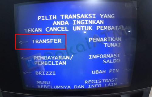 6. Pilih Transfer