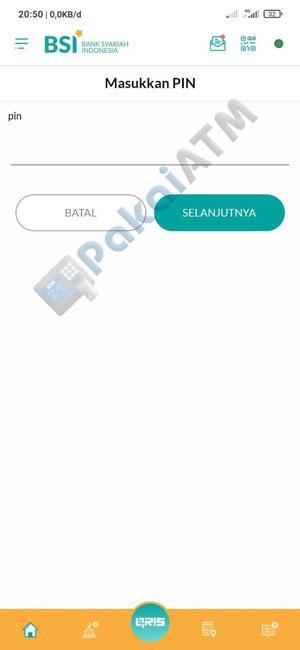 7. Masukkan PIN BSI Mobile