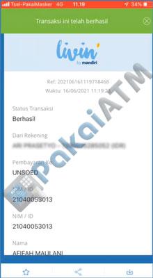 11. Biaya pendaftaran SPMB Unsoed via Mandiri Online berhasil di bayar silahkan cetak bukti pembayarannya