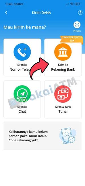 3. Pilih Menu Rekening Bank