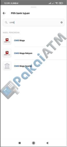 5. Pilih Bank Tujuan CIMB Niaga