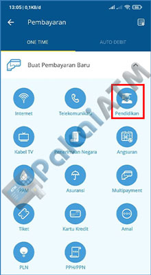 5. Selanjutnya untuk bayar SPMB via Mandiri Online, pilih menu Pendidikan