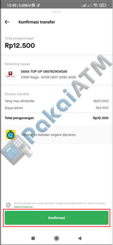 8. Konfirmasi Transfer GoPay ke DANA