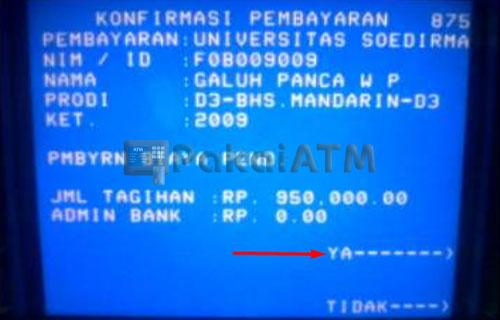 9. Konfirmasi pembayaran SPMB Unsoed via ATM Mandiri