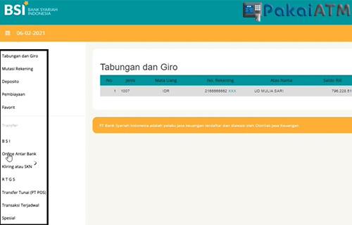Fitur yang Tersedia di Internet Banking BSI