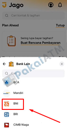 10. Pilih Bank