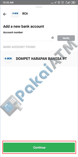 11. Masukkan Informasi Bank