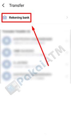 4. Klik Rekening Bank